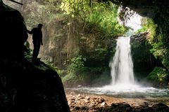 Coban Jidor. Waterfall located on Malang, Indonesia. It is good for family holiday and have some selfie spot Royalty Free Stock Photo