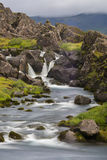 Waterfall Long Exposure iwth grass and rocks Royalty Free Stock Images