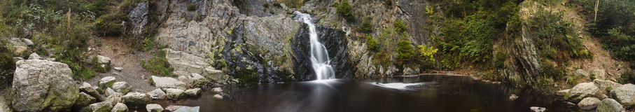 Waterfall Long Exposure Panorama Stock Image