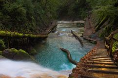 Waterfall and long stairs, Sochi, Russia royalty free stock image