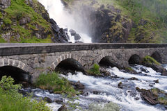 Waterfall Lotefossen Stock Photos