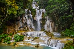 Waterfall in Luang Prabang lao royalty free stock photo