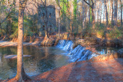 Waterfall in Lullwater Park, Atlanta, USA. Spillway waterfall and the tower in the Lullwater Park, Atlanta, USA Stock Photo