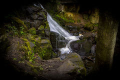 Waterfall in the Lumsdale Valley, Matlock, Derbyshire, Peak Dist Stock Photo