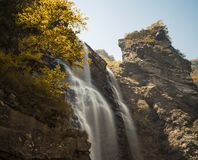 Waterfall in Lushan China in autumn. Waterfall in Lushan China in long-time exposure Stock Photos