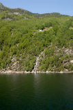 Waterfall in Lysefjord. Picture of waterfall in Lysefjord in Norway Stock Photo