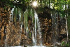 Waterfall Mali prstavac. Waterfall on the reservation Plitvice Lakes, Croatia Stock Images