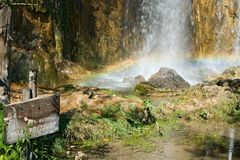 Waterfall Mali prstavac. Waterfall in the Plitvice Lakes, Croatia Stock Photos
