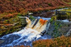Waterfall. Man made waterfall Peak District Royalty Free Stock Images