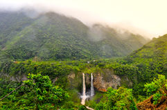 Waterfall Manto de la Novia in Banos de Agua Santa. Ecuador royalty free stock photography