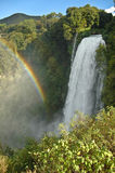 Waterfall Marmore - Italy. The first jump of the waterfall Marmore with rainbow, Umbria - Italy Stock Photography