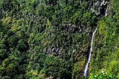 Waterfall in Mauritius. Beautiful waterfall surrounded by greenery in Mauritius Stock Photo