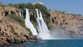 Waterfall in Mediterranean Sea Antalya, Turkey Royalty Free Stock Photography