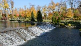 The waterfall in Mezhigirya. NOVI PETRIVTSI, UKRAINE - OCTOBER 14: The waterfall in Mezhigirya on October 14, 2014 in Novi Petrivtsi, Ukraine. It is former stock footage