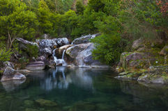 Waterfall in the middle of mountain Stock Image