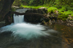 Waterfall in the middle of mountain Royalty Free Stock Images
