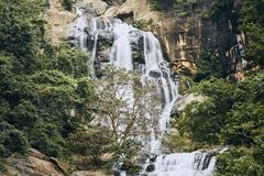 Waterfall in the middle of pure nature royalty free stock photography