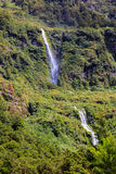 Waterfall of Milford Sound fiord. Fiordland National Park, New Zealand Stock Image