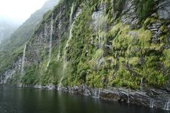 Waterfall of Milford Sound, New Zealand Royalty Free Stock Photos