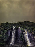 Waterfall in Milford Sound, New Zealand. Under the waterfall in Milford Sound, south island in New Zeland. Beautiful landscape Royalty Free Stock Photography