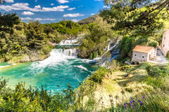 Waterfall And Mill In Krka National Park-Croatia Royalty Free Stock Photography