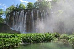 Waterfall. Misty waterfall lake Royalty Free Stock Image