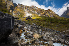 Waterfall at Modi khola valley on the way from Deurali to Machapuchare base camp ,Nepal. Royalty Free Stock Images