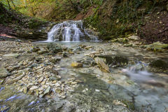Waterfall at Monte Cucco Park in Umbria Royalty Free Stock Photos