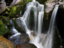 Waterfall in moss. In the Giant Mountains Stock Photo