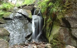 Waterfall and a moss-grown stone. A waterfall and a moss-grown stone Royalty Free Stock Image