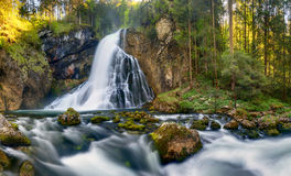 Waterfall with mossy rocks in Golling, Austria Royalty Free Stock Image