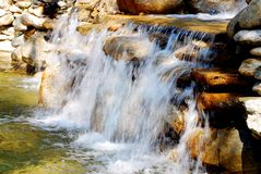 Waterfall in motion. Close up of waterfall cascading over rocks, slow motion blur effect Stock Photography