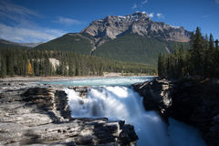 Waterfall with Mountain in Background. Athabasca Falls off the Icefields Highway in Canada. Waterfall blurred in front of grand rocky mountain covered in dense Stock Image