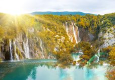 Waterfall in mountain forest Royalty Free Stock Photography