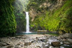 Waterfall in a mountain gorge, Philippines. Stock Images