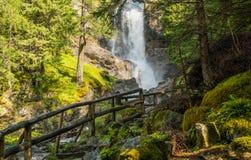 Waterfall mountain landscape. Rabbi Valley, Trentino Alto Adige, Italy Royalty Free Stock Image
