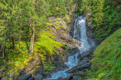 Waterfall mountain landscape. Rabbi Valley, Trentino Alto Adige, Italy Royalty Free Stock Images