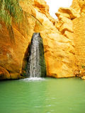 Waterfall in mountain oasis Chebika. At border of Sahara, Tunisia, Africa Royalty Free Stock Photography