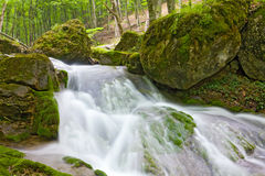 Waterfall on mountain river Royalty Free Stock Photo