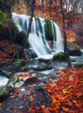 Waterfall at mountain river in autumn forest at sunset. Stock Photography