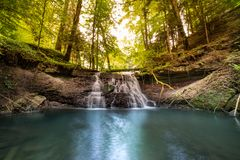 Waterfall at mountain river. cascade royalty free stock photography