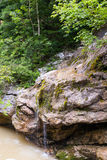 Waterfall is on the mountain river . Royalty Free Stock Photography