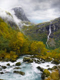 Waterfall and Mountain River Landscape Stock Image
