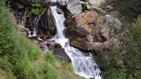 Waterfall on a mountain river. With lush vegetation in the Pyrenees of Catalonia stock video footage