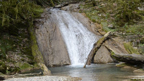 Waterfall on mountain river in Sochi stock video