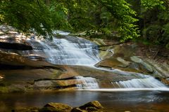 Waterfall on mountain river. Royalty Free Stock Image