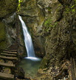 Waterfall in Mountain - Slovak Paradise. Mountain stream in Mountain Slovak Paradise. Name of waterfall is Big Waterfall in canyon Big Sokol Eastern Europe stock photos