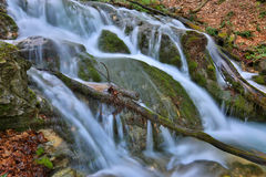 Waterfall on mountain stream Stock Images