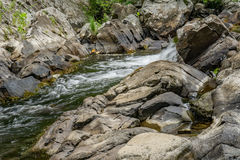 Waterfall on a Mountain Trout Stream. Waterfall on a mountain wild trout stream located in the Blue Ridge Mountains of Virginia, USA Stock Photo