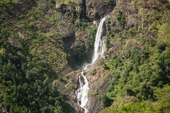 Waterfall in the mountain. View from the trekking at Annapurnas circuit, Himalaya, Nepal Royalty Free Stock Photography